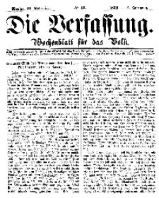 Die Verfassung : Wochenblatt für das Volk, Montag, 12. November, Nr 45, 1866