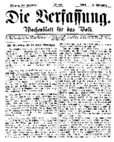 Die Verfassung : Wochenblatt für das Volk, Montag, 10. Dezember, Nr 49, 1866