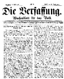 Die Verfassung : Wochenblatt für das Volk, Montag, 4. Februar, Nr 5, 1867