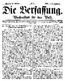 Die Verfassung : Wochenblatt für das Volk, Montag, 18. Februar, Nr 7, 1867