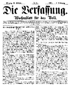 Die Verfassung : Wochenblatt für das Volk, Montag, 25. Februar, Nr 8, 1867