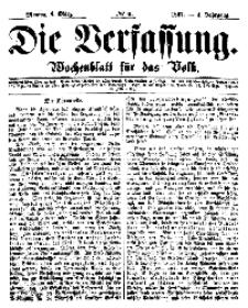 Die Verfassung : Wochenblatt für das Volk, Montag, 4. März, Nr 9, 1867