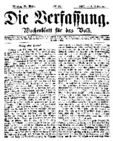 Die Verfassung : Wochenblatt für das Volk, Montag, 18. März, Nr 11, 1867