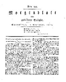 Morgenblatt für gebildete Stände, Sonnabend, 7. September 1811, No 215.