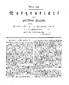 Morgenblatt für gebildete Stände, Donnerstag, 17. October 1811, No 249.
