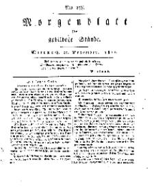 Morgenblatt für gebildete Stände, Mittwoch, 20. November 1811, No 278.