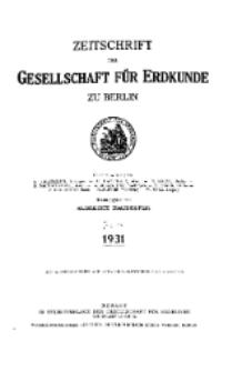Zeitschrift der Gesellschaft für Erdkunde zu Berlin, 1931