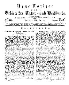 Neue Notizen aus dem Gebiete der Natur- und Heilkunde, 1842 (Bd. XXI, nr 3), Januar - No 443