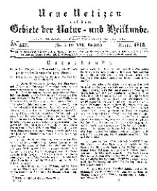 Neue Notizen aus dem Gebiete der Natur- und Heilkunde, 1842 (Bd. XXI, nr 7), Januar - No 447