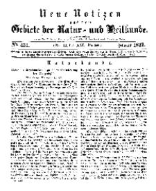 Neue Notizen aus dem Gebiete der Natur- und Heilkunde, 1842 (Bd. XXI, nr 11), Februar - No 451