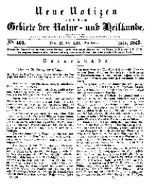 Neue Notizen aus dem Gebiete der Natur- und Heilkunde, 1842 (Bd. XXI, nr 21), März - No 461