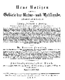 Neue Notizen aus dem Gebiete der Natur- und Heilkunde, 1842 (Register - Bd. XXII)