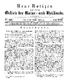 Neue Notizen aus dem Gebiete der Natur- und Heilkunde, 1842 (Bd. XXII, nr 1), April - No 463
