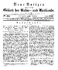 Neue Notizen aus dem Gebiete der Natur- und Heilkunde, 1842 (Bd. XXII, nr 3), April - No 465