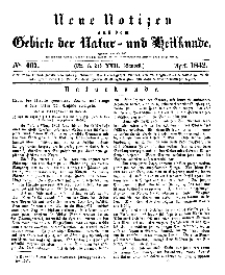 Neue Notizen aus dem Gebiete der Natur- und Heilkunde, 1842 (Bd. XXII, nr 5), April - No 467