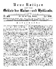 Neue Notizen aus dem Gebiete der Natur- und Heilkunde, 1842 (Bd. XXII, nr 20), Juni - No 482
