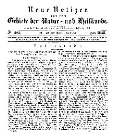 Neue Notizen aus dem Gebiete der Natur- und Heilkunde, 1842 (Bd. XXII, nr 22), Juni - No 484
