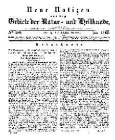Neue Notizen aus dem Gebiete der Natur- und Heilkunde, 1842 (Bd. XXIII, nr 5), Juli - No 489