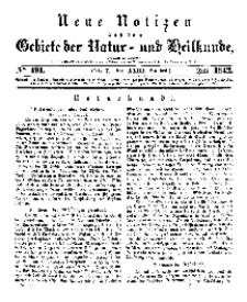 Neue Notizen aus dem Gebiete der Natur- und Heilkunde, 1842 (Bd. XXIII, nr 7), Juli - No 491