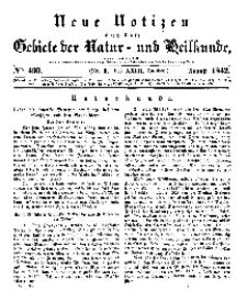 Neue Notizen aus dem Gebiete der Natur- und Heilkunde, 1842 (Bd. XXIII, nr 9), August - No 493