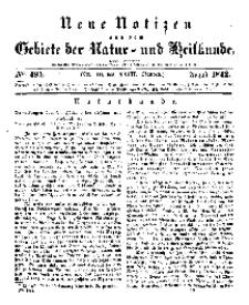 Neue Notizen aus dem Gebiete der Natur- und Heilkunde, 1842 (Bd. XXIII, nr 10), August - No 494