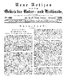 Neue Notizen aus dem Gebiete der Natur- und Heilkunde, 1842 (Bd. XXIII, nr 19), September - No 503