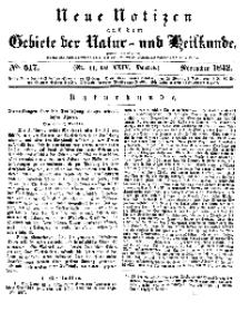 Neue Notizen aus dem Gebiete der Natur- und Heilkunde, 1842 (Bd. XXIV, nr 11), November - No 517