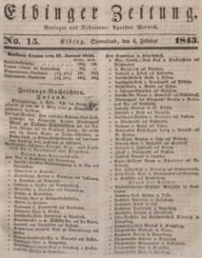 Elbinger Zeitung, No. 15 Sonnabend, 4. Februar 1843