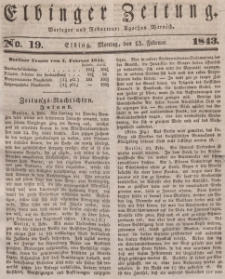 Elbinger Zeitung, No. 19 Montag, 13. Februar 1843