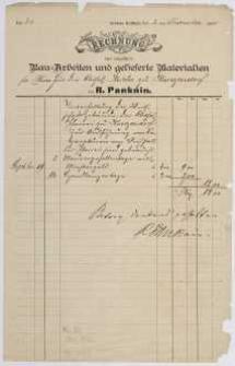Rechnung: Bau=Arbeiten und gelieferte Materialien von R. Panknin