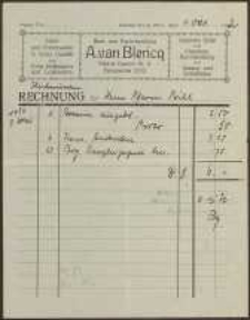 Rechnung: Buch und Papierhandlung A. van Blericq