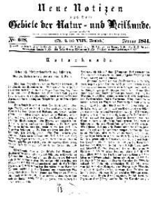 Neue Notizen aus dem Gebiete der Natur- und Heilkunde, 1844 (Bd. XXIX, nr 2), Januar - No 618