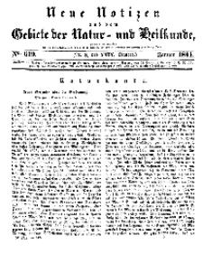 Neue Notizen aus dem Gebiete der Natur- und Heilkunde, 1844 (Bd. XXIX, nr 3), Januar - No 619