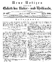 Neue Notizen aus dem Gebiete der Natur- und Heilkunde, 1844 (Bd. XXIX, nr 5), Januar - No 621