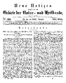 Neue Notizen aus dem Gebiete der Natur- und Heilkunde, 1844 (Bd. XXIX, nr 22), März - No 638