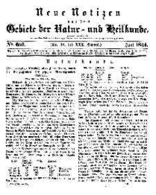 Neue Notizen aus dem Gebiete der Natur- und Heilkunde, 1844 (Bd. XXX, nr 18), Juni - No 656