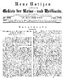 Neue Notizen aus dem Gebiete der Natur- und Heilkunde, 1844 (Bd. XXXI, nr 12), August - No 672