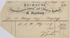 Rechnung: Colonialwaaren, -Tabaks- und Cigarren-Handlung G. Jacobsen
