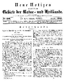 Neue Notizen aus dem Gebiete der Natur- und Heilkunde, 1844 (Bd. XXXII, nr 4), October - No 686