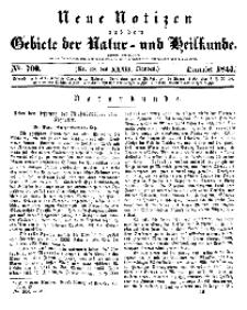 Neue Notizen aus dem Gebiete der Natur- und Heilkunde, 1844 (Bd. XXXII, nr 18), Dezember - No 700