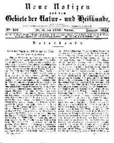 Neue Notizen aus dem Gebiete der Natur- und Heilkunde, 1844 (Bd. XXXII, nr 19), Dezember - No 701