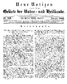 Neue Notizen aus dem Gebiete der Natur- und Heilkunde, 1844 (Bd. XXXII, nr 20), Dezember - No 702