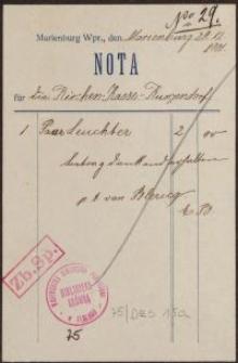Nota: Kirchen-Kasse-Kunzendorf (20.12.1901 r.)