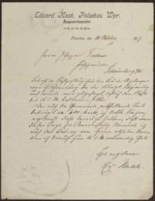 Pismo: Eduard Haak, Palschau, 10.10.1907 r.