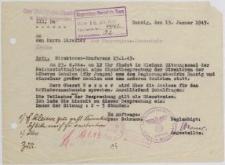 Pismo z dnia 13.01.1943, Danzig (Direktor der Copernicus-Oberschule)