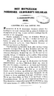 Det Kongelige Nordiske Oldskrift-Selskab. Aarsmöde den 27te Januar 1842