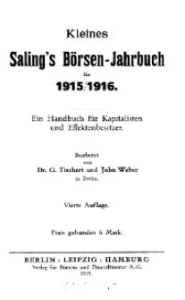 Kleines Saling's Börsen-Jahrbuch für 1915/1916