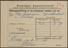 Beitragsquittung [...] Danziger Feuersozietät (11.01.1944 r.)