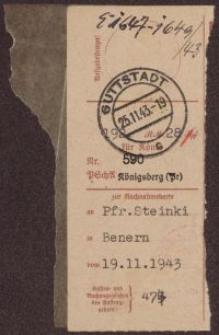 Przekaz pocztowy: Pfr. Steinki