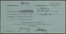 Generalagentur: Danzig. Auf Police No C. 096970